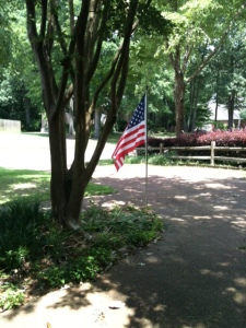 The view of the flag at my parents' house
