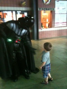 My son waltzed right up to Darth Vader and asked when he was going back to space, heh.