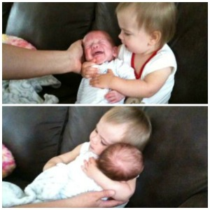 Ayden is not feeling the Tater love but she hugs him anyway. Tasha, I love you and your boys so much!