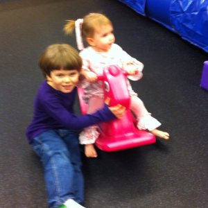 Of course one of the only decent photos of both children is blurry.