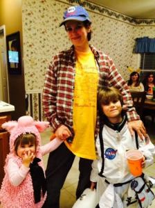 Our motley crew consists of a piglet, redneck, and astronaut.